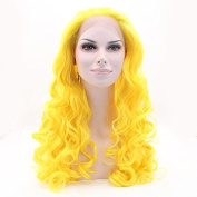 Silmei Bright Natural And Soft Heat Resistant Synthetic Fibres Ombre Long Wavy Synthetic Wigs Lace Front Wig
