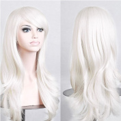 "Sexybaby Wig Full Wigs Cap Hair Nets Long Real Synthetic Fibre 214g White 23""(58CM) Natural Daily Hairpiece"