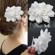 Akak Store New Beauty Women's Bridal Wedding Rhinestone Orchid Hair Clip Barrette Bridal Wedding Party Women Accessories