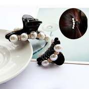 Akak Store 2 Pcs/Lot Crystal Pearl Hair Clip Black Claw Clip for Women/Baby Party Festival Rhinestone Hairpin