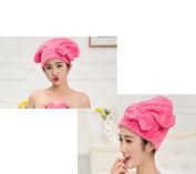 Lunar baby Cute Bowknot Ultra Absorbent Shower Bath Spa Cap Hair Drying Dry Towel Wrap Cap Turban(Red)