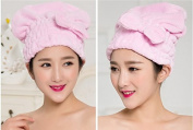 Lunar baby Cute Bowknot Ultra Absorbent Shower Bath Spa Cap Hair Drying Dry Towel Wrap Cap Turban(Pink)