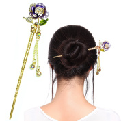 Fashion & Lifestyle Hair Decor Chinese Traditional Style Hair Sticks Shawl Pins Picks Pics Forks for Women Girls Hair Updo Making Accessory 15cm with Flower,Purple