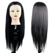 Dreambeauty Practise Heads for Hairstylist Cheap Training Head with Black Synthetic Hair for Hair Cutting Practise only