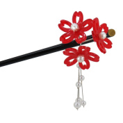 Geisha Pearl Hair Stick with Acrylic Cherry Blossom Cluster and Tassel