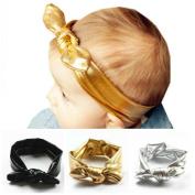 Akak Store 3Pcs/Lot New Fashion Children Metallic Messy Big Bow baby Girls Elasticity Headband Baby kids Cloth Turban Knot Hairband Wrap