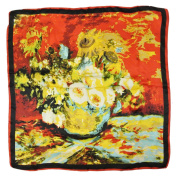 Wrapables® Luxurious 100% Charmeuse Silk Square Scarf, Sunflower Bouquet