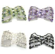 Lovef 4pcs Beaded Hair Comb Stretch Double combs Hair Head Comb Cuff Double Clip Gift