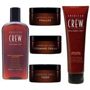American Crew Men's Kit. Daily Moisturising Shampoo 450ml, Pomade 50ml, Forming Cream 50ml, Fibre 50ml and Firm Hold Styling Gel 390ml