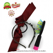 EYX Formula Mini Colourful Hair Brush with mirror,Pack of 3 Red wine Silk Hair ties with Glitter Headband