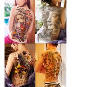 Dalin 4 Sheets Extra Large Temporary Tattoos, Full Back, Fish, Dragon, Buddha, Beauty