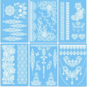 DaLin 6 Sheets Henna Body Paints Temporary Tattoos Stickers Lace Tattoo for Girls, Women Wedding Necklace, Bracelets Patterns