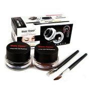 EFINNY 2PCS Black & Brown Waterproof Gel Eyeliner Makeup Cosmetic + 2PCS Brush Sets