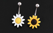 Adecco LLC A Pair White and Yellow Sunflower Belly Button Ring