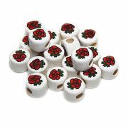 ROSE FLOWER CERAMIC BEADS ROSES 8mm DISC WHITE BASE RED/GREEN/BLACK DETAILS 40pc