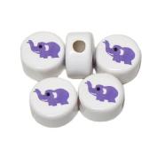 ANIMALS CERAMIC BEADS ELEPHANT 14mm DISC WHITE BASE LIGHT PURPLE DETAIL 25pc