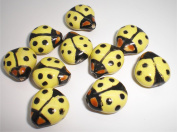 16x16mm Double-sided Porcelain Yellow/Black/Brown Ladybug Beads - Package of 10