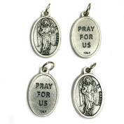 Lot of 4 Archangel Gabriel Protect Protection Medal Pendant Charm Pray for Us Made in Italy Silver Tone Catholic 1.9cm