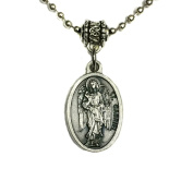 Archangel Gabriel Protect Protection Medal Pendant Charm Prayer Necklace Made in Italy Silver Tone Catholic 1.9cm