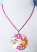 Lia Sophia FLOWER POWER Large Pink & Orange Pendant Crystals 41cm - 48cm Necklace