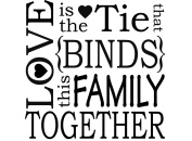 Love is the tie that binds (1 pc) 7.6cm - 0.6cm - Black 16CC630 Fused Glass Decal