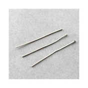 Packet of 100+ Silver Stainless Steel 30mm Head Pins - (Y01980) - Charming Beads
