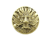 Screw Back Brass Japan Dragon Concho Coin Wallet Biker Trucker LeatherCraft