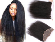 Brazilian Virgin Hair Ear To Ear Lace Frontal Closure 33cm x 10cm Kinky Straight Unprocessed Remy Human Hair full Lace Front Closures Free Part With Baby Hair Bleached Knots 50cm Natural Colour