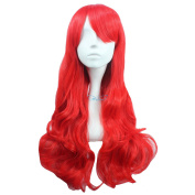 Angelaicos Women's Synthetic Fibre Party Curly Costume Wigs Long Red