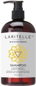 Laritelle Organic Shampoo 470ml   Hair Loss Prevention, Clarifying, Strengthening, Follicle Stimulating   Argan Oil, Rosemary, Lemongrass, Ginger & Cedarwood   NO GMO, Sulphates, Gluten, Alcohol, Parabens, Phthalates.