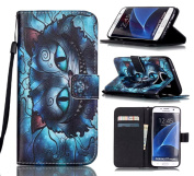 Tikeda-Galaxy S7/S7 Edge Beauty Leather Wallet Case Cover & Credit Card Holders For Samsung Galaxy S7/Galaxy S7 Edge With Hand Strap-2016 New