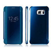 Galaxy S7 Edge Case,Doinshop 1PC Luxury Clear View Mirror Flip Smart Case Cover For for Samsung Galaxy S7 Edge