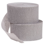 2 ROLLS Grey Crepe Paper Streamers 43m Total - Made in USA