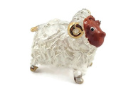 TINY CRYSTAL SHEEP HAND BLOWN CLEAR GLASS ART SHEEP FIGURINE ANIMALS GLASS BLOWN FBM03