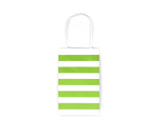 12CT SMALL LIME GREEN STRIPE BIODEGRADABLE, FOOD SAFE INK & PAPER KRAFT BAG WITH WHITE STURDY HANDLE