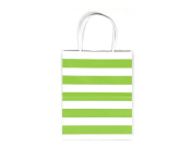 12CT MEDIUM LIME GREEN STRIPE BIODEGRADABLE, FOOD SAFE INK & PAPER KRAFT BAG WITH WHITE STURDY HANDLE