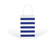 12CT SMALL ROYAL BLUE STRIPE BIODEGRADABLE, FOOD SAFE INK & PAPER KRAFT BAG WITH WHITE STURDY HANDLE