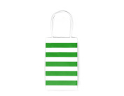 12CT SMALL GREEN STRIPE BIODEGRADABLE, FOOD SAFE INK & PAPER KRAFT BAG WITH WHITE STURDY HANDLE