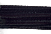 Craft Factory CF109 | Black Chenille Pipe Cleaners | 12mm x 30cm | 15 pack