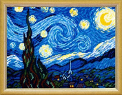 Needlepoint Painted Canvas Tapestry Gobelin Kit with yarn - Starlight Night by Van Gogh. 33cm x 41cm BL-42