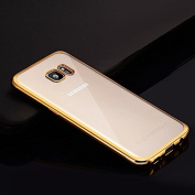 Galaxy S7 Edge Case,S7 Edge TPU Case,ikasus Crystal Clear Plated Frame Silicone Soft TPU Bumper Rubber Protective Transparent Case Cover for Samsung Galaxy S7 Edge,Golden