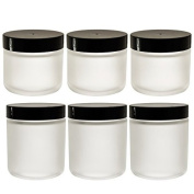 Frosted Clear Glass Straight Sided Jar 3 - 60ml and 3 - 120ml