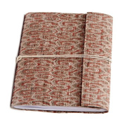 Sitara Collections Hand-woven Red Swirl Damask Weave Silk Notebook