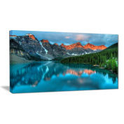 "Designart PT6802-100cm - 50cm Moraine Lake sunrise Landscape Photography"" Canvas Print, Blue, 100cm x 50cm"