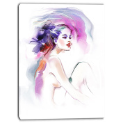 Designart PT6712-16-32 Purple Woman Portrait Contemporary Artwork, Purple, 41cm x 80cm