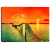 "Designart PT6908-271 4 Panel ""Fabulous Sunset Panorama Photo Seascape"" Canvas Print, Red, 120cm x 70cm"