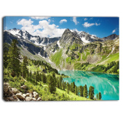 "Designart PT6914-100cm - 50cm Lake On Green Valley Photography Landscape"" Canvas Print, Green, 100cm x 50cm"