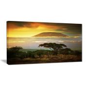 """Designart PT6903-100cm - 50cm Mount Kilimanjaro Photography Landscape"""" Canvas Print, Yellow, 100cm x 50cm"""