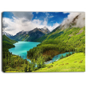 "Designart PT6926-100cm - 80cm Lake Amidst Lush Greenery Photography"" Canvas Print, Green, 100cm x 80cm"