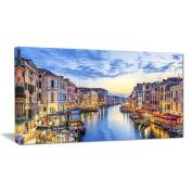 """Designart PT6889-100cm - 80cm Grand Canal Panorama Landscape Photo"""" Canvas Print, Blue, 100cm x 80cm"""
